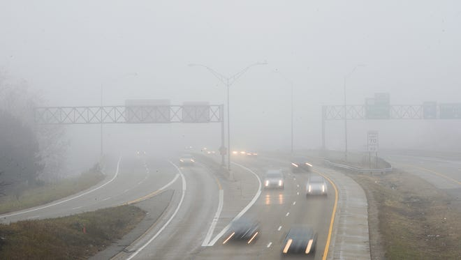 This photo shows I-496 in Lansing a foggy day in January 2017.