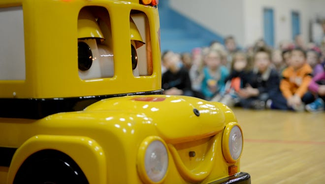 Buster the Talking School Bus made a stop at Medina Elementary School Wednesday morning to talk about school bus safety.