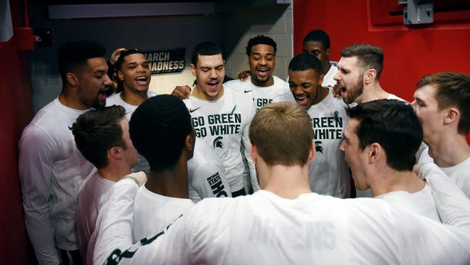 Michigan State prepares to take the court before the start of their game against Bucknell on Friday, March 16, 2018, at the Little Caesars Arena in Detroit.