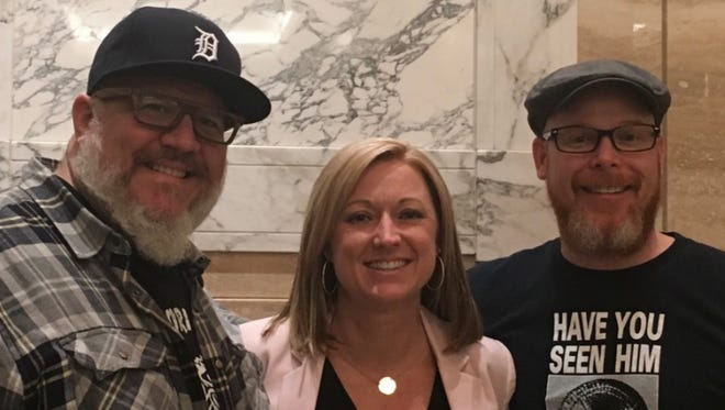 Former Ford Field Executive Chef Joe Nader, left, and business partners Jennifer Gratz and Scott Breazeale. The trio are launching Guilt Chocolates, an upscale chocolate bonbon company.