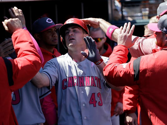 Cincinnati Reds' Scott Schebler (43) is congratulated by teammates after hitting a solo home run against the San Francisco Giants during the sixth inning of a baseball game in San Francisco, Saturday, May 13, 2017. (AP Photo/Jeff Chiu)