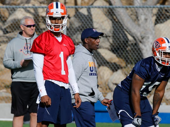 UTEP JC transfer Kai Locksley looks over to the sideline for the next play to call as spring practice opened Monday under new head coach Dana Dimel and an entire new coaching staff.