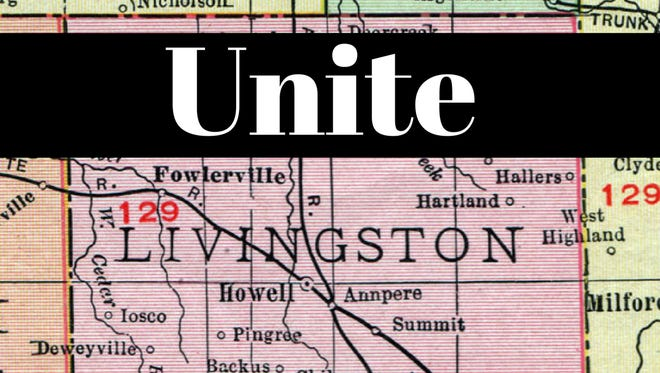 """This graphic showing a map of Livingston County, MI is being used to promote a non-partisan """"unity"""" rally in Howell Wednesday, Aug. 23, 2017."""