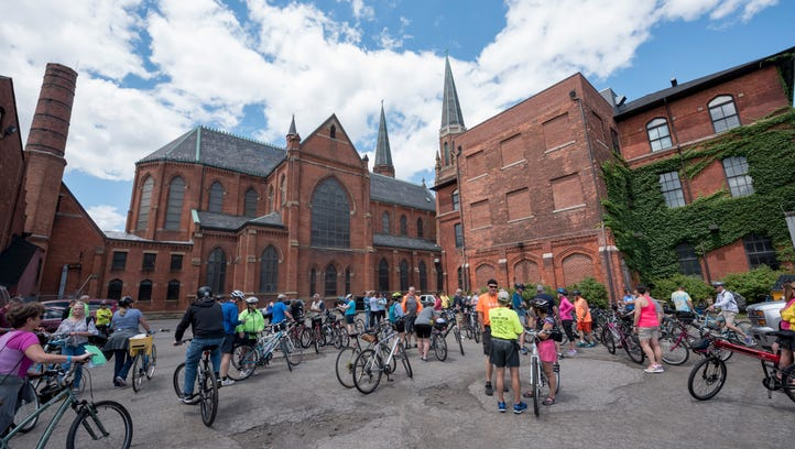 Over 200 bicyclists assemble at Ste. Anne church in