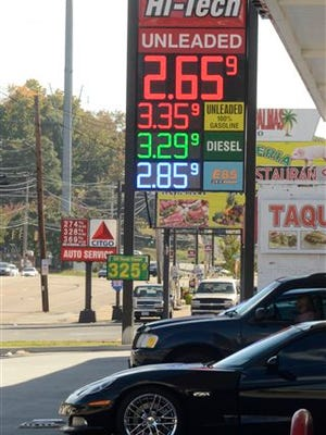 The price of regular gasoline dropped to $2.659 per gallon at the Hi Tech Fuels station on Brainerd Road and other stations in Chattanooga, Tenn., on Tuesday, Oct. 21, 2014.