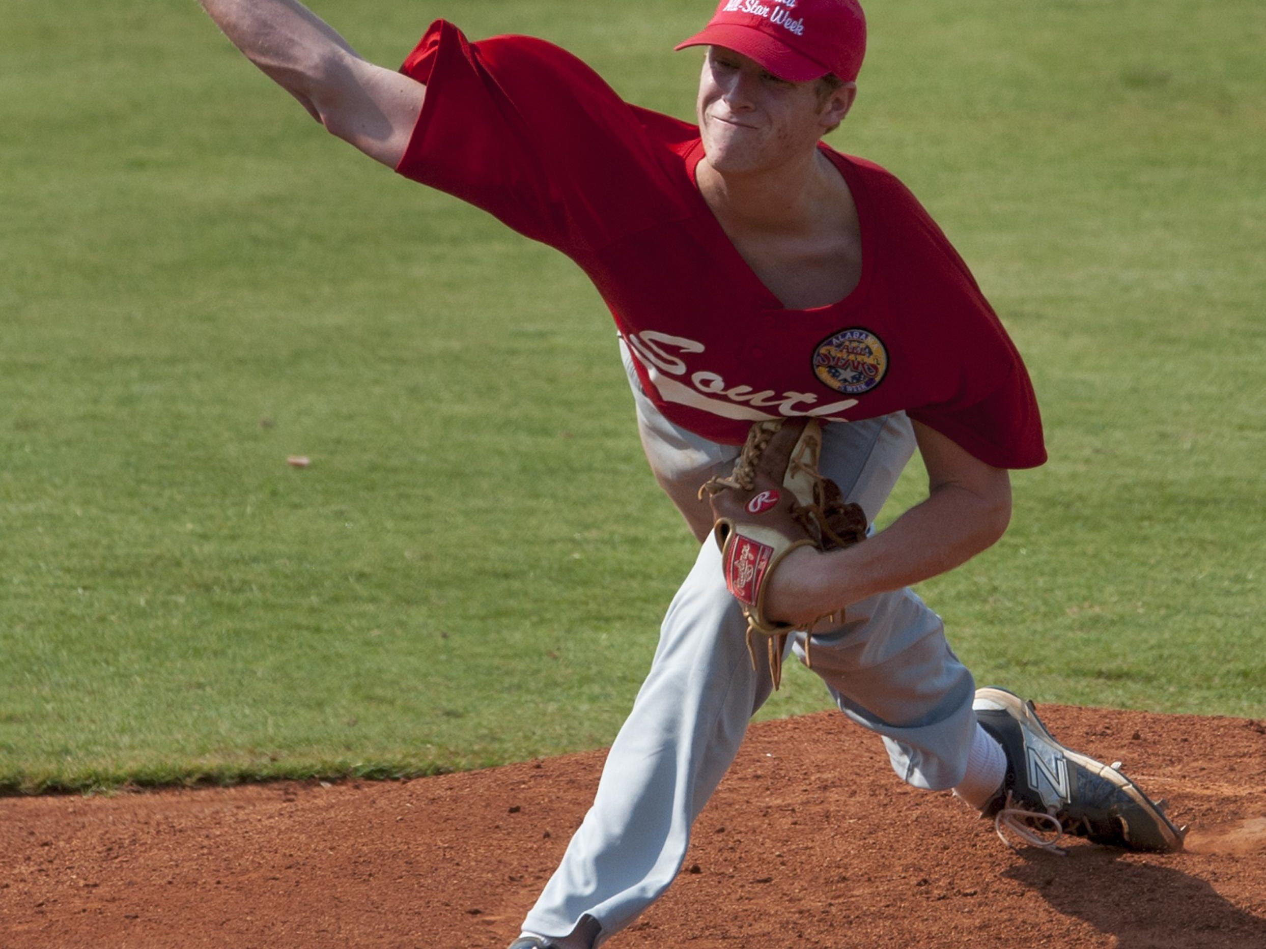 St. James pitcher Davis Daniel throws for the South team in game one of the AHSAA All-Star Sports Week at Riverwalk Stadium Montgomery, Ala. on Tuesday July 21, 2015.