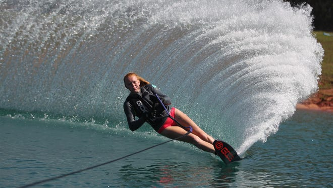 Kelley Breeden, 17, a Florida High School senior, water skis on Lake 38 northwest of Tallahassee between Havana and Quincy. Breeden is the No. 8 skier in the country for Girls 3 Slalom.