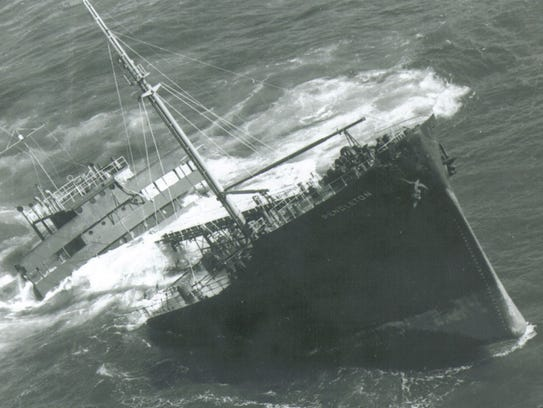 The S.S. Pendleton was broke in half off the Massachusetts