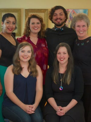 Some of the members of L'Opéra de Lafayette et Lagniappe (seated, l-r): Brittany Luberda, soprano, Hannah Mayo, pianist and repertoire committee; (standing) Sasha Massey, soprano, Andrea Mouton, soprano, Miguel Ochoa, bass-baritone and Sue S. Turner, pianist and repertoire committee.