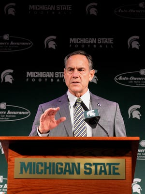 Spartans head coach Mark Dantonio speaks about recruits coming to Michigan State University Wednesday at Spartan Stadium during the press conference on National Signing Day.