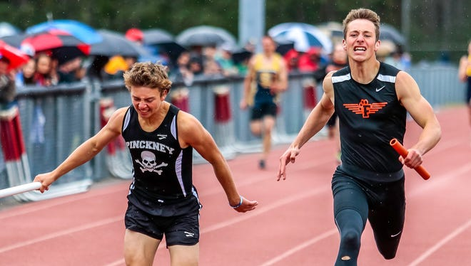 Junior Alex Wasyl (left) anchored Pinckney to the best times in Livingston County in three relays.