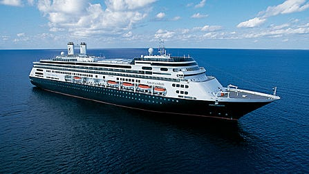 Holland America's 1,380-passenger Amsterdam embarks on January 5, 2015 on a 114-day Grand World Voyage, round-trip from Fort Lauderdale.