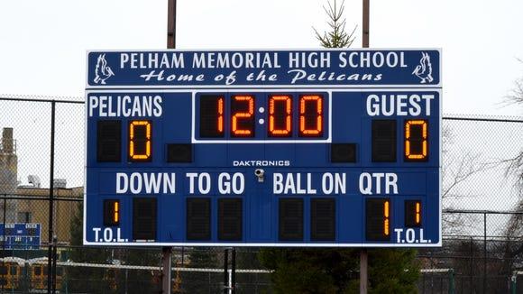 The scoreboard at Glover Field in Pelham.