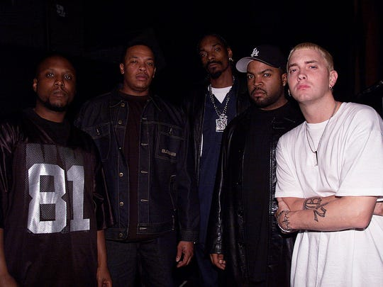 Eminem, right, pictured with Ice Cube, Snoop Dogg,
