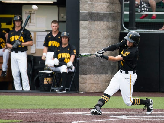 Iowa's Mitchell Boe bats during a baseball game at