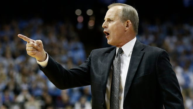 Tennessee head coach Rick Barnes directs his team during the first half of an NCAA college basketball game against North Carolina in Chapel Hill, N.C., Sunday, Dec. 11, 2016. (AP Photo/Gerry Broome)