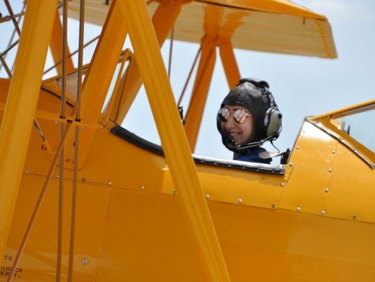 Kaila Comeau, shown in a Boeing NS2-3/PT-17 Stearman,