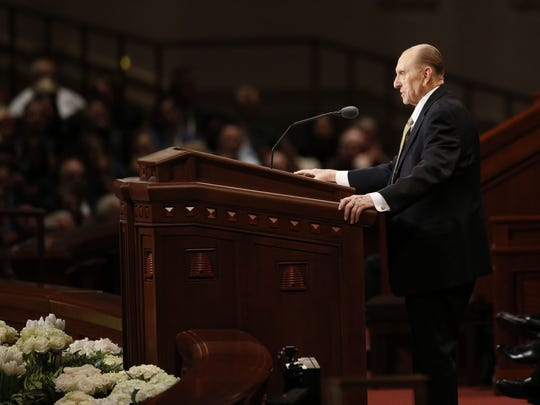 Thomas S. Monson, president of The Church of Jesus Christ of Latter-day Saints, announces five new temples Sunday morning at the Conference Center in Salt Lake City during the church's 187th Annual General Conference.