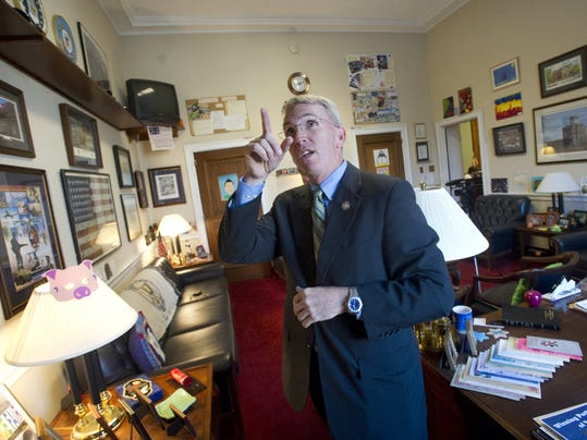 U.S. Rep. Todd Platts talks about his room of memorabilia in his Washington D.C. office. YORK DAILY RECORD/SUNDAY NEWS--JASON PLOTKIN