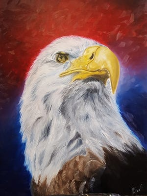 """Agnes Bermudez Ansell won second place for her """"American Bald Eagle"""" at the """"My America"""" exhibit."""