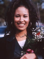 Tejano superstar Selena Quintanilla-Perez during her visit to Cunningham Middle School on Nov. 14, 1994, to introduce her new educational video.