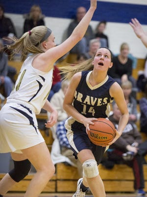 Indian Hills junior forward Angela Saric helped the Braves to three victories last week, averaging 19.7 points.