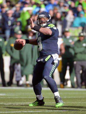Jan 18, 2015; Seattle, WA, USA; Seattle Seahawks quarterback