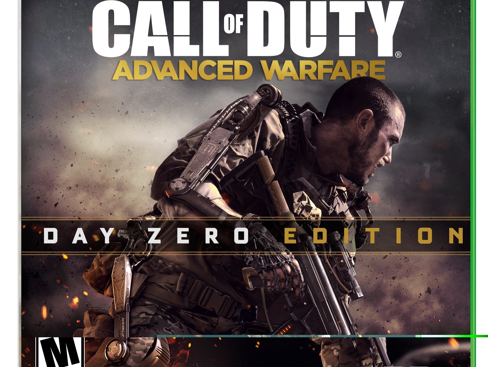Image of the box art for Xbox One version of the video game 'Call of Duty: Advanced Warfare.'