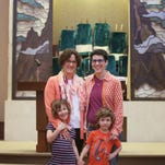 MARRIAGE RELIGION: Monday, April 20, 2015: NEWS. Elisa Abes and Amber Feldman photographed with their children, Shoshana, 6, and Benjamin, 4, inside of the Adath Israel Synagogue where they would like to be married, if the State of Ohio law was overturned. The Enquirer/ Amanda Rossmann