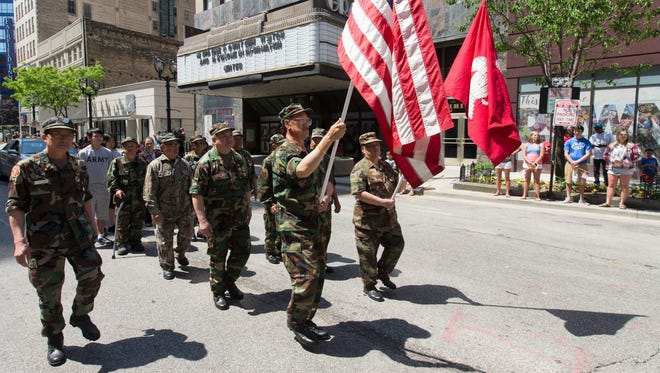Veterans march during the 2016 Memorial Day Parade in downtown Milwaukee.