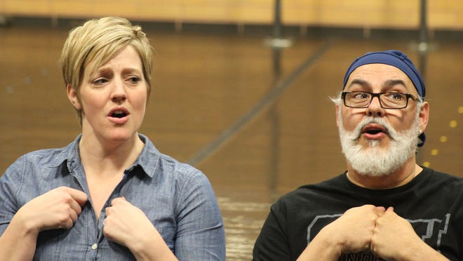 """Melinda Pfundstein and Peter Sham rehearse for their roles as Golde and Tevye in the Southern Utah University production of """"Fiddler on the Roof."""""""