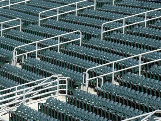 A photo of the empty stands during an Iowa Cubs game June 14, 2008, against the Nashville Sounds with an official attendance number of zero. No fans were allowed into the stadium due to nearby flooding.