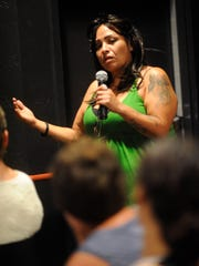 Leticia Chavez, 42, said she was grateful to the Bethlehem Center and the Visalia Rescue Mission for their help during the 210 Connect public forum on homelessness April 13, 2015 at 210. She told the standing room only crowd she's next in line for permanent supportive housing through a program at CSET and they applauded her.