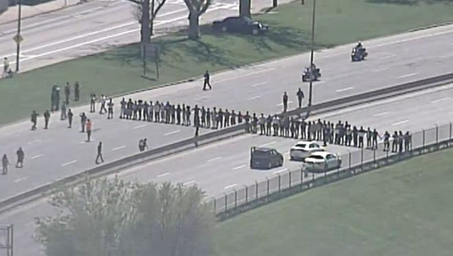 May 23, 2015: Protests block westbound lanes of Shoreway near the W. 44th Street exit.