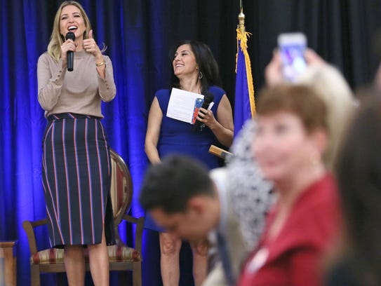 Ivanka Trump addresses the crowd at a campaign stop