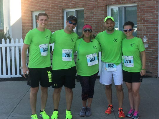 Team Feldman Physical Therapy and Performance runners pose together after participating in the Run for Heroes race last year. Pictured from left are Ben Smith, Justin Feldman, Janine Mastantuono, John Nunez and Vanessa Nunez.
