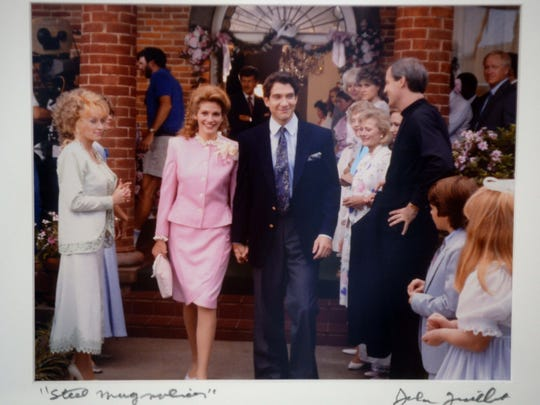 "The Steel Magnolia House in Natchitoches, La was the family home and setting for the wedding reception in ""Steel Magnolias."" This is a photo from the filming on display in ""Shelby's"" room."