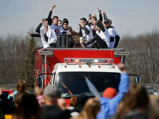The Kaukauna basketball team is welcome home Sunday after its state championship.