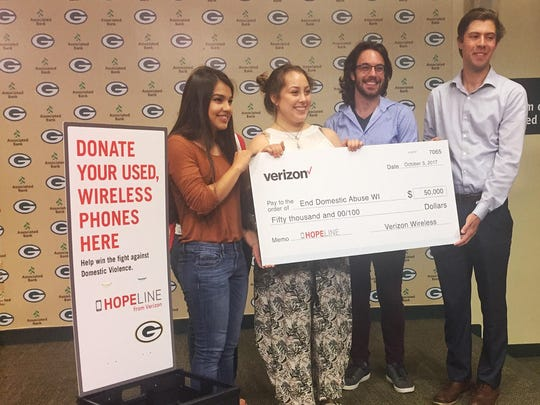 As part of its HopeLIne efforts to combat domestic violence, Verizon donated $50,000 to End Domestic Abuse WI on Oct. 3.