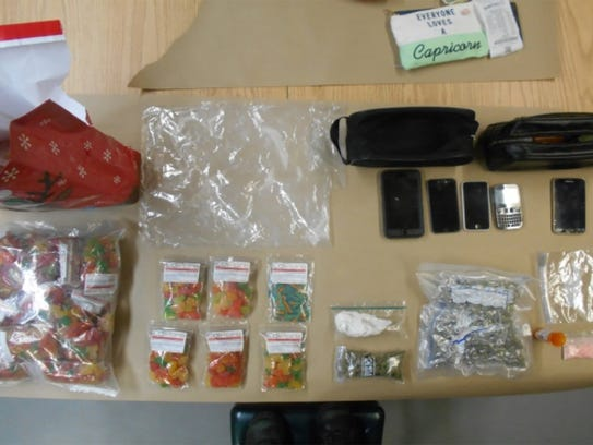 Items seized from a vehicle Jordan Jones was driving,