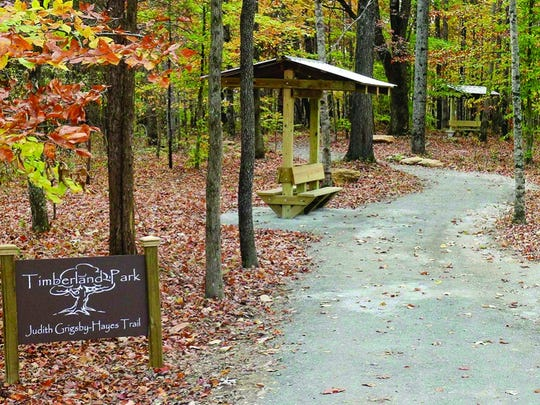 Timberland Park offers several miles of trails to explore, including the Judith Grigsby-Hayes Trail.
