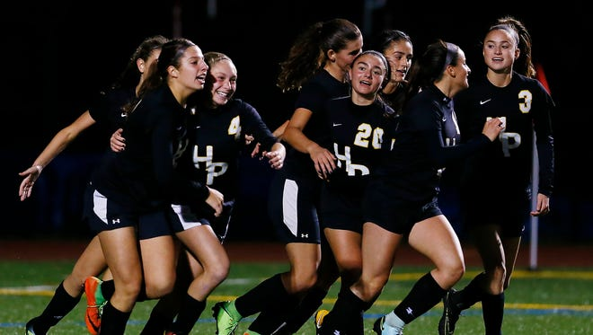 Hanover Park celebrates sophomore Arya Galioto's game-winning second-half goal in the NJSIAA North 2 Group II girls soccer final.
