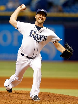 Tampa Bay Rays relief pitcher Brad Boxberger throws during the ninth inning of a baseball game against the Minnesota Twins on Thursday, Aug. 27, 2015, in St. Petersburg, Fla. The Rays won 5-4.