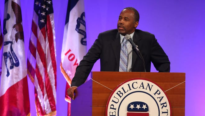Dr. Ben Carson speaks on Saturday, May 16, 2015, during the 2015 Lincoln Dinner in Des Moines, Iowa.