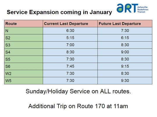 Bus route times will be expanded in the city of Asheville beginning in 2018.