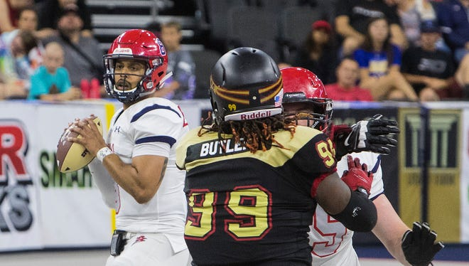 Lorenzo Brown (8) of the Sioux Falls Storm prepares to throw the ball against the Iowa Barnstormers on Friday, June 8, 2018 at the Denny Sanford Premier Center in Sioux Falls, S.D.