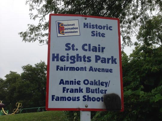 A sign in North Fairmount marks the site of the legendary shooting contest between Annie Oakley and Frank Butler.