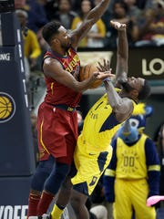 Cleveland Cavaliers forward Jeff Green (32) strips the ball from Indiana Pacers guard Lance Stephenson (1) during the second half of Game 4 at Bankers Life Fieldhouse on Sunday, April 22, 2018. The Cleveland Cavaliers defeated the Indiana Pacers 104-100.