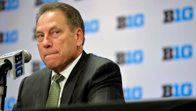 Michigan State men's basketball head coach Tom Izzo speaks at the NCAA college Big Ten Media Day in Chicago, Thursday, Oct. 15, 2015.