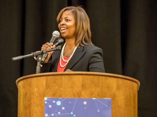 Kellogg Co. Vice President of Indirect Procurement Tracy Joshua delivers a series of impassioned remarks about becoming a disruptive innovator Wednesday at the 2016 Southwest Michigan Buyers' Summit at FireKeepers Casino Hotel in Emmett Township.